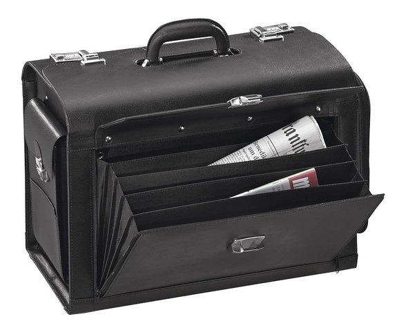 Alassio® Pilotenkoffer Leder mit Laptopfach und Hängeregisterfunktion