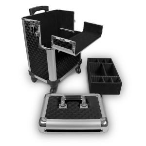 Pilotenkoffer / Reisetrolley Aluminium Schwarz