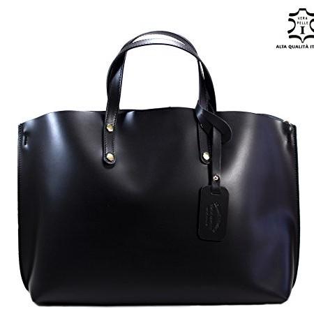 100-ECHTES-LEDER-Handtasche-LUXUS-CITY-BAG-Shopper-kuhleder-rindsleder-Damen-Henkeltaschen-Schultertaschen-Umhngetaschen-Glattleder-Business-Akten-Laptoptasche-HOBO-SCHWARZ-0