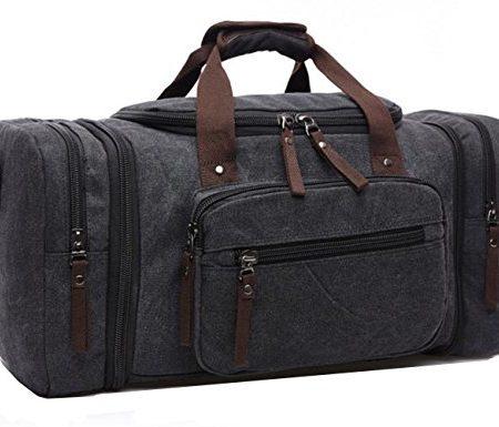 Aidonger-Unisex-Canvas-Grorumige-Handtasche-Schultertasche-Reisetasche-Schwarz-0