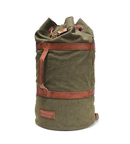 DRAKENSBERG-Kimberley-Duffel-Bag-Seesack-Rucksack-Segeltasche-Canvas-Leder-Vintage-Safarilook-grn-oliv-braun-0