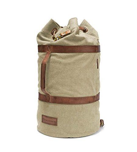 DRAKENSBERG-Kimberley-Duffel-Bag-Seesack-Rucksack-Segeltasche-Canvas-Leder-Vintage-Safarilook-sand-khaki-braun-0