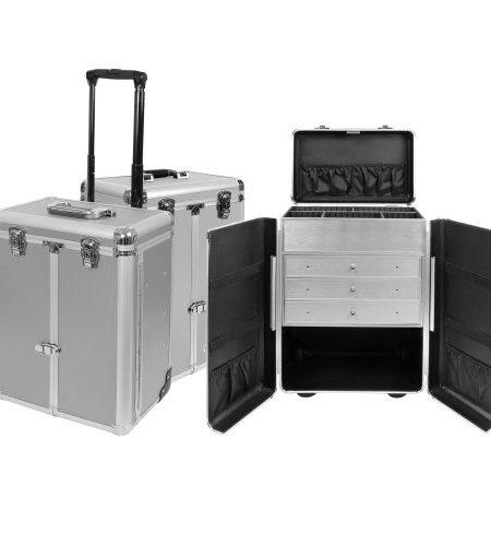 Exklusiver-Aluminium-Sortimentskoffer-Trolley-Tackle-box-Pilotenkoffer-Prsentationskoffer-in-Silber-als-Friseurkoffer-bzw-Kosmetikkoffer-Nhkoffer-Produktprsentationen-0