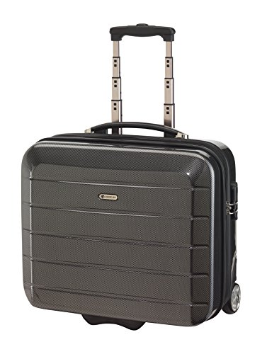 eleganter-Trolley-Reise-Koffer-London-in-Carbon-Optik-Grau-Cabin-Board-Case-46-x-36-x-215-cm-35-Liter-Businesskoffer-Koffer-fr-Kurzreisen-kleiner-Koffer-0