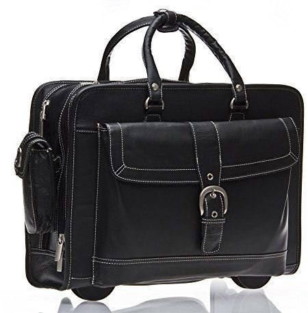 Business-Laptop-Tasche-Mit-Rollen-Schwarz-Leder-432cm-Reisetasche-Neu-0