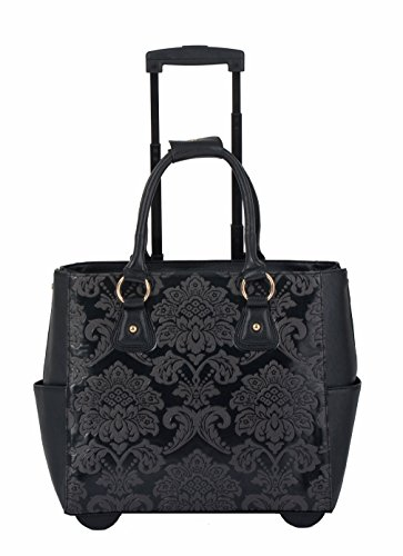 damen trolley handtasche brieftasche mit rollen f r ipad tablet oder laptop damast optik. Black Bedroom Furniture Sets. Home Design Ideas