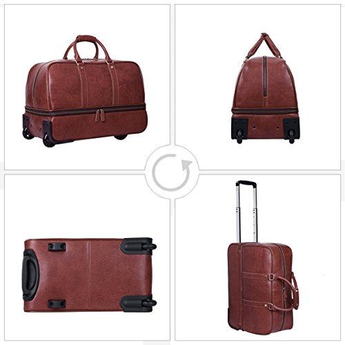 leathario reisetasche aus rindsleder weekender xl koffer mit rollen handgep ck trolly. Black Bedroom Furniture Sets. Home Design Ideas